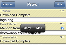 The list of notifications in Prowl on the iPhone