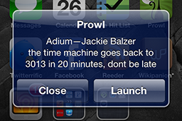 A Push notification on the iPhone from Prowl