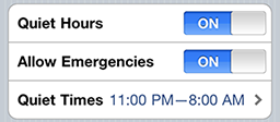 The quiet hours options display in Prowl.