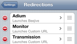 A sample set of redirection options