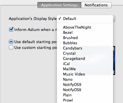 A screenshot showing Prowl in the 'Display Style' dropdown inside of Growl's preferences.